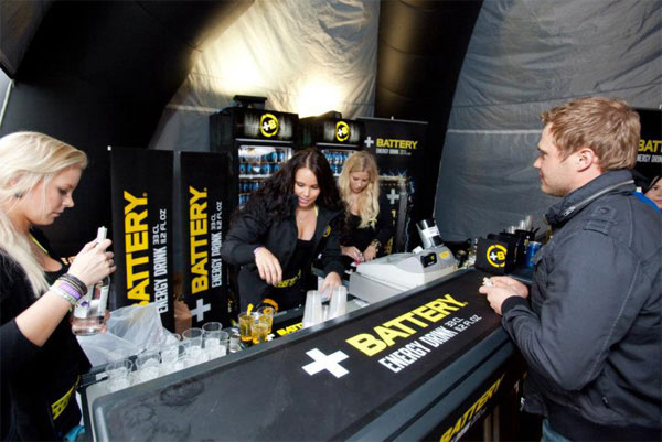 Energy drink bar for Battery Finland at music festival