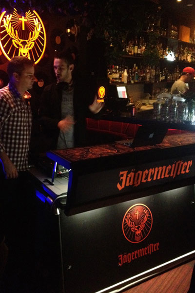 Justincase mobile bar with Jaegermeister brandings in a night club event
