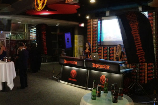 Justincase mobile bar used as DJ table in Jaegermeister promotion event