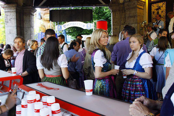 Overview from the Almdudler Justincase bar at the Oktoberfest event