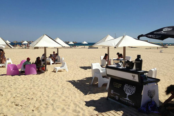 Fever Tree portable bar at the beach