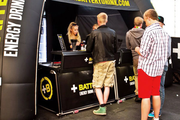 Energy drinks bar at promotion action