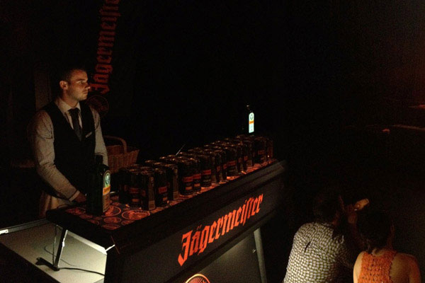 Portable bar with Jaegermeister in a club event