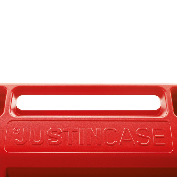 A detailed view of the handle of the Justincase portable bar