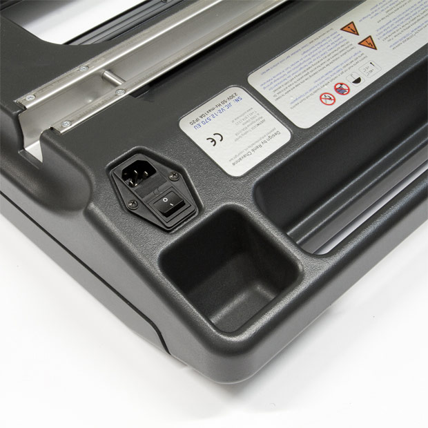 A detailed view of the socket in the Justincase portable bar