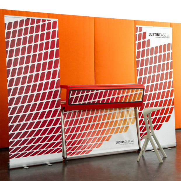 80 cm wide roll up display that creates a side wall for the mobile bar and encloses the space, creating a dedicated bar area